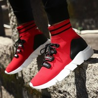 High Top Couples Running Shoes Black Red Sneakers China Lightweight Fitness Male Sneakers Breathable Walking Shoes Women