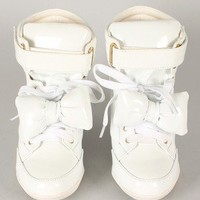 Privileged Amore Patent Bow Lace Up Wedge Sneaker