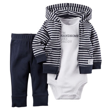 3PCS Toddler Infant Baby Boys Clothing Coat Cardigan + Romper +Pants Casual Cotton Set Warm Clothes Outfit 0-24M