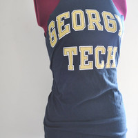 Georgia Tech Tunic Tank College Navy Blue Gold and White by SewRed
