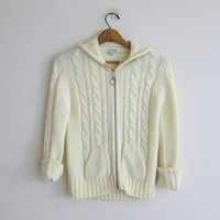 Vintage 70s cable knit zipper up sweater with hood and pockets