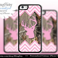 Pink Camo Buck Head Antlers Iphone 5C case iPhone 5s iPhone 4 case Ipod 4 5 Touch case Real Tree Chevron Zig Zag  Personalized