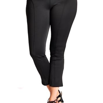 Womens Plus Size Techno Solid Black Casual Ankle Pants