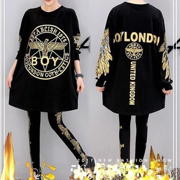 """Boy London"" Women Casual Fashion Letter Eagle Pattern Print Long Sleeve Shorts Leggings Set Sportswear"