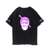 VLONE LIFE fashion Europe and the United States street personality youth big V fluorescent skull spring and summer T-shirt