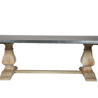 Chateau Dining Table Solid Reclaimed Pine Wood Zinc