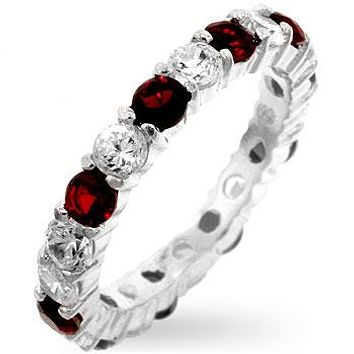 Elizabeth Ruby Red Eternity Stackable Ring | 4ct | Sterling Silver
