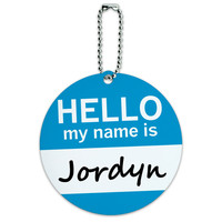 Jordyn Hello My Name Is Round ID Card Luggage Tag