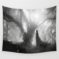 Black and White - Autumn Song Wall Tapestry by Viviana Gonzalez
