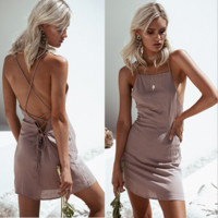 Dew buttocks dress lace-up back pack