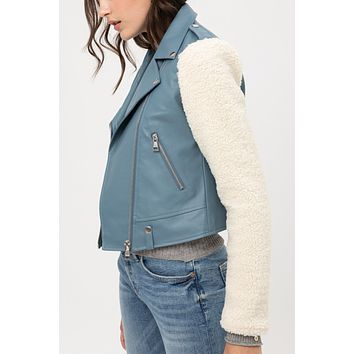 Faux Leather Fully Lined Sherpa Fleece Long Sleeve Moto Biker Jacket
