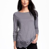 Relaxed Lace-Trim Top for Women   Old Navy