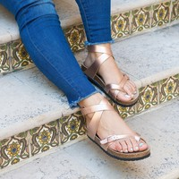 Lace-Up Rose Gold Footbed Sandals