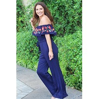 Down In Mexico Off Shoulder Jumpsuit