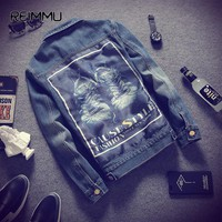 2017 New Fashion Mens Jackets and Coats High Quality Male Denim Jacket Coat Oversized 5XL Jean Jacket Homme Brand Clothing
