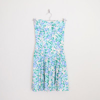 Blue Floral Dress Floral Print Dress Floral Mini Dress Sweetheart Dress Strapless Dress 80s Dress 80s Prom Dress Party Dress XS Extra Small