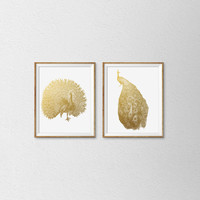 Faux Gold Foil Peacock Art Print. Set of 2 Prints. Modern Home Decor. Office Art. Minimalist Wall Art. Chic. Trendy. Animal Print.