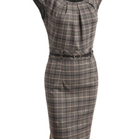 LE3NO Womens Fitted Plaid Midi Dress with Faux Leather Belt
