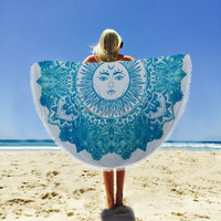 Indian Sun & Moon Round Blanket Beach Throw Cotton Wall Hanging Tapestry Yoga Mat Towel