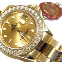 Rolex Yacht-Master 18k Yellow Gold Champagne Dial W/ 3ct Bezel 16628 Mens Watch