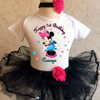 Minnie Mouse blue pink black Birthday Personalized Custom Name Age Shirt Tutu Set outfit girl 1st first 6 9 12 18 month Infant Baby Toddler