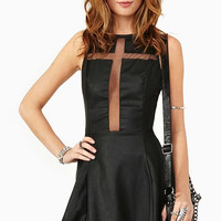 Black Cross Mesh Panel Sleeveless Dress