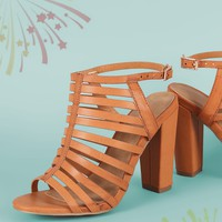 Bamboo Strappy Caged Chunky Heel