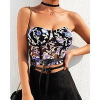 Hot selling fashion embroidery printing perspective net gauze sexy wipe chest female