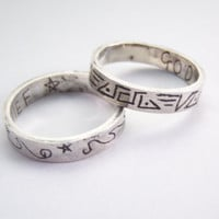 Avengers Thor brothers Loki and Thor God of Thunder and God of Mischief silver rings pair