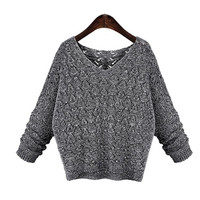 Women Show Thin Sweater  Sexy Deep V-Neck Hollow-Out Outwear Plus Size = 1667539524