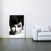 Audrey Hepburn The Head - Decorative Arts, Prints & Posters,Wall Art Print, Poster 16x23 Inch - Black and White Poster