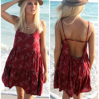 St. George Island Floral Burgundy Sundress