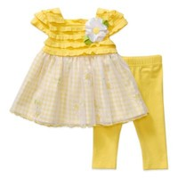 Sweet Heart Rose® 2-Piece Cap-Sleeve Dress and Legging Set in Yellow/Gingham
