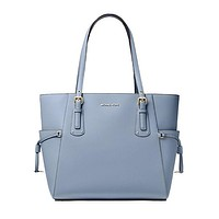 Voyager Small Crossgrain Leather Tote Bag, MICHAEL Michael Kors, Blue