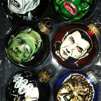 Monster Ornaments Vinetage frankestein, bride, wolfman, dracula, creature, phantom