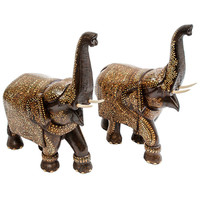 Pair of Richly Decorated Caparisoned Rosewood Indian Elephants c.1890
