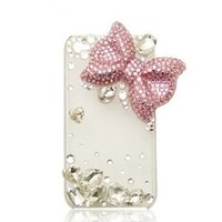 Punkphone 3d Clear Crystal Bling 3d Lovely Crystal Eiffel Tower, Big Bow Cute Case Cover for Iphone 5c, Clear-pink Bow