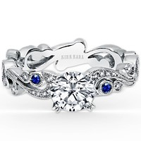 Kirk Kara Angelique Scroll Work Blue Sapphire Engagement Ring