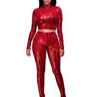 Red Sequined Crop Top and Leggings