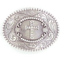 M&F Silver Cross Oval Buckle