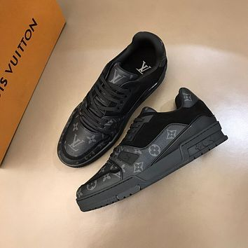 LV Louis Vuitton BEST QUALITY Men's Leather Trainer Low Top Sneakers Shoes