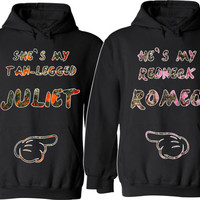 She Is My Tan Legged Juliet He is My Redneck Romeo Couple Hoodies For Her For Him Unisex Sizes,Hunting Camo Pink Orange Valentine's Day Gift