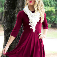 Cozy Up Sweater Dress - Wine