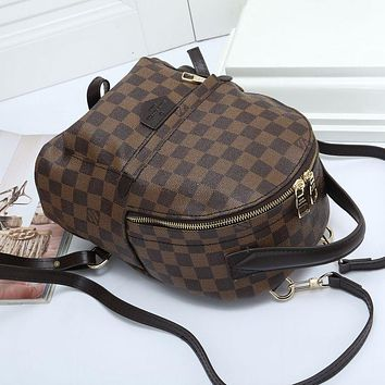 """LV"" Louis Vuitton Simple fashion casual wild plaid straps backpack travel backpack 3#"