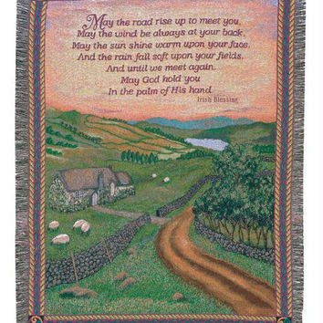 Irish Blessing Tapestry Throw Blanket - Made In The Usa