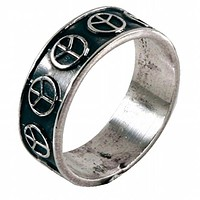Peace Sign - Silver Ring