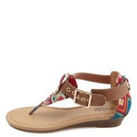 Tribal Print Canvas Thong Sandals by Charlotte Russe - Tan