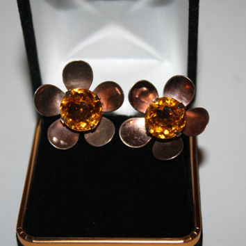 Sterling Silver and Beautiful OrangeCenter Vintage Screw back  Earrings approx. 1 inch   - free ship US