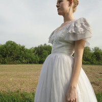 Romantic wedding dress, prom dress, white, light gray, flutter sleeves, Alyce Designs, princess gown