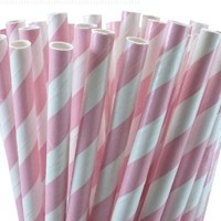 """25 Paper Drinking Straws Baby Pink Stripes 7.75"""" Retro Vintage Style Durable"""